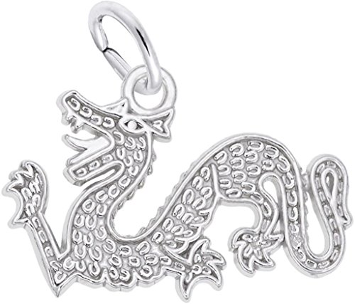 Rembrandt Flat Chinese Serpent Dragon Charm - Metal - 14K White Gold