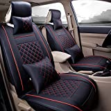 Super PDR Luxury PU Leather Auto Car Seat Covers 5 Seats Full Set Universal Fit Easy to Clean Anti-Slip Four Seasons General Car Seat Cushions (Black&Red M)