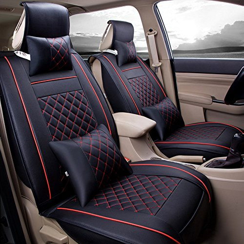 (Super PDR Universal Fit car Seat Covers Set PU Classic Leather Seat Covers 5 seats Full Set Front Rear Car Bucket Anti-Slip Easy to Clean (Black&Red L))