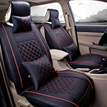 Super PDR® 9pcs Universal Fit car Seat Covers Set PU Classic Leather Seat Covers for Jeep Wrangler 5 Seats Full Set Front Rear Car Bucket Anti-Slip Easy to Clean (Black&Red S)