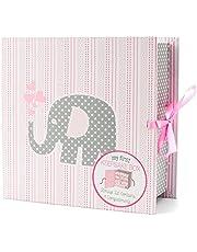 Baby Milestone Keepsake Storage Box by Votum: Track Treasured Memories, 9 Sections – 9 x 3.5 x 9 – Elle Elephant