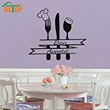 2016 NEW French Bon Appetit Quote Wall Sticker Kitchen Cutlery Chef Hat Home Decor Wall Decals Black