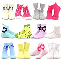 TeeHee Kids Girls Cotton Basic Crew Socks 12 Pair Pack