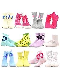 TeeHee Kids Girls Cotton Basic Crew Socks 12 Pair Pack