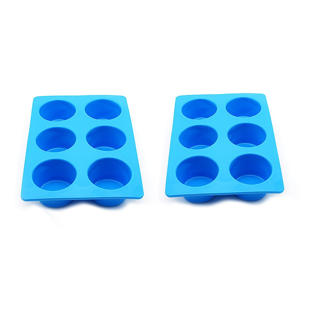 Wolecok Silicone Muffin & Cupcake Baking Pans, Non-Stick, Easy to Clean, Oven/Microwave/Dishwasher/Freezer Safe, Heat Resistant up to 450°F (6cups, Blue)