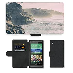 Just Phone Cases PU LEATHER case coque housse smartphone Flip bag Cover protection // M00421784 Costa del mar del océano acantilados de // HTC DESIRE 816