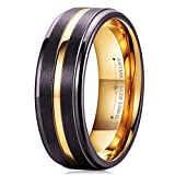 Three Keys Jewelry 8mm Men's Tungsten Wedding Ring Brown Brushed Rose Gold Groove Engagement Band Ring