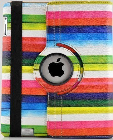 (TCD Rainbow Multi-Color Striped Camouflage 360 Degree Rotating Cover Case PU Leather Case for the new iPad mini with Screen Protector & Stylus Pen)