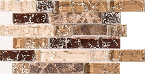 Sample of Brown and White Crackle Glass & Marble Mosaic Tile Sheet (MT0154) Grand Taps