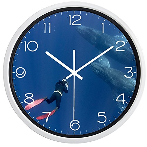 Indoor Non-Ticking Silent Quartz Wall Clock Meet The Whale Diver In The Deep Sea Design Quiet Sweep Movement(10inch,White Color Frame) -