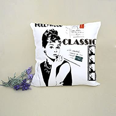 MarryU Audrey Hepburn Movie Star Pillow Case Cushion Cover 18 x 18 for Sofa