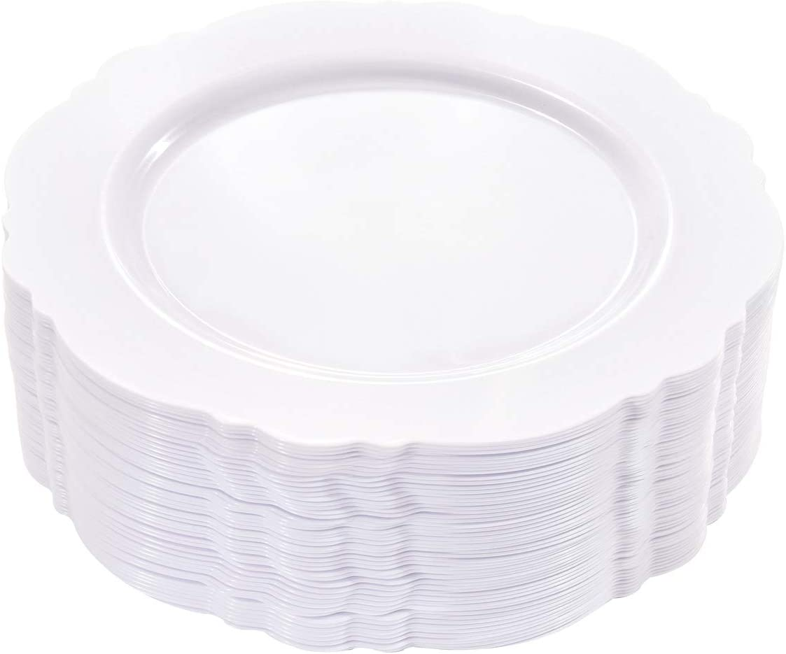 WDF 60pcs White Plastic Plates -10.25inch Baroque White Disposable Dinner Plates for Upscale Parties &Wedding