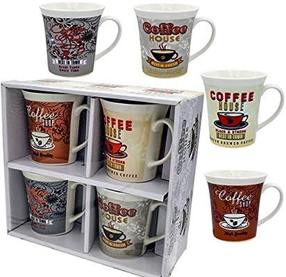 Coffee Mug Set 4 Mug 12 Ounce Mugs Porcelain Set Of 4 White Mug Gift Boxed A Great Marriage Or Couples Gift Set Amazon Sg Home