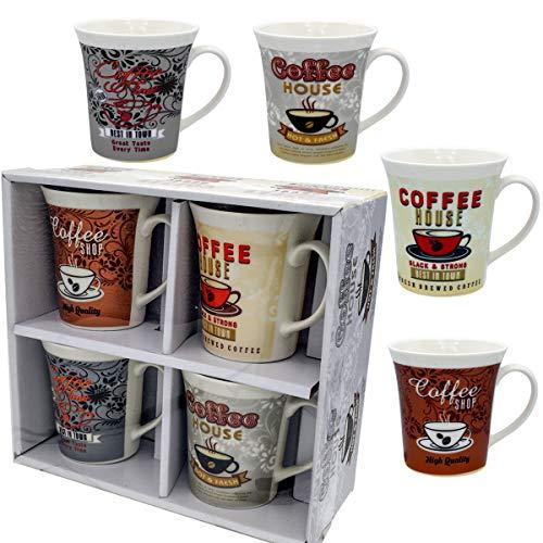 Coffee Mug Set 4 Mug - 12 Ounce Mugs Porcelain Set of 4 White Mug - Gift Boxed a great marriage or couples Gift Set ...