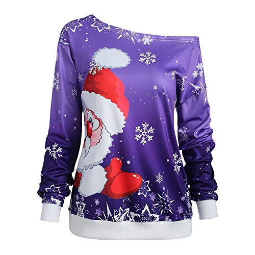 Baiggooswt Santa Claus Print Women's Raw Cut Off The Shoulder Long Sleeve Tee Shirt Top ()