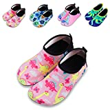 Kids Water Shoes Quick Drying Beach Aqua Shoes for Boy Girl Toddler Sporting Swimming Outdoor Activities (7-7.5 M US Toddler, Pink-Dinosaur)