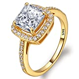 EVER FAITH Women's 925 Sterling Silver Princess Cut .25ct CZ Engagement Ring Clear Gold-Tone Size 9