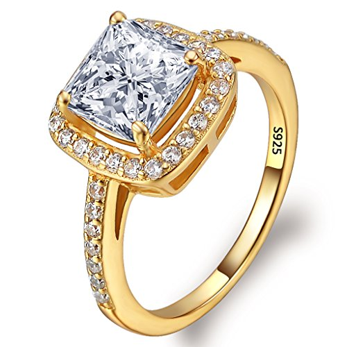 Gold Tone Rhinestone Ring (EVER FAITH Women's 925 Sterling Silver Princess Cut .25ct CZ Engagement Ring Clear Gold-Tone Size)