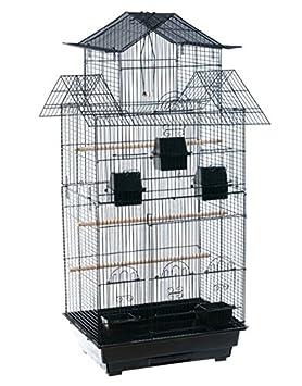 Colossal schwarz Vogelkäfig – Oriental Tea House Form – ein geräumiges Vogel Käfig für Nymphensittiche und Großsittiche