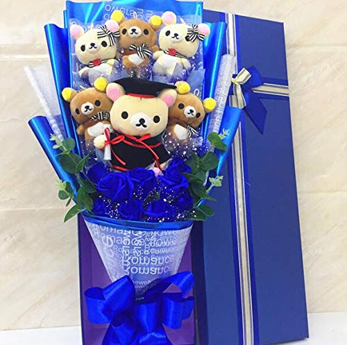 48cm (18.9 inch) - Rilakkuma Plush Skin Relax Bear Plush Toys / Cartoon Flower Bouquet Stuffed Animal Doll (B (with Box)) by Bouquet flower plush doll