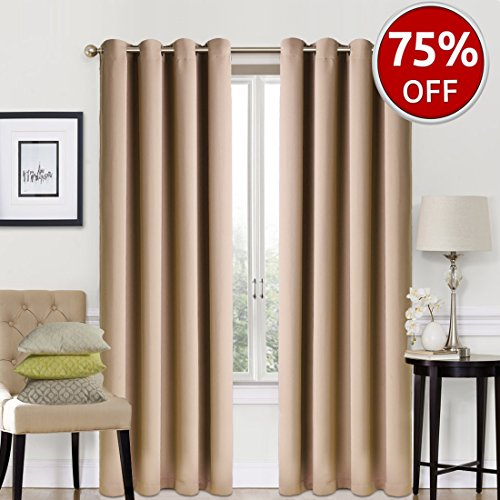 2 Drapes - EASELAND Blackout Curtains 2 Panels Set Room Darkening Drapes Thermal Insulated Solid Grommets Window Treatment Pair for Bedroom, Nursery, Living Room,W52xL84 inch,Khaki