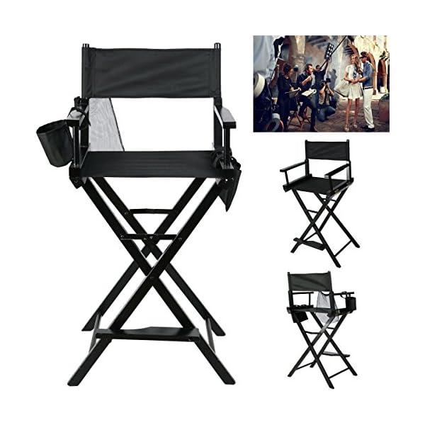 Chaise de Directeur Pliable, Chaise Maquilleur Pliante Tabouret de Directeur en bois Salon Make Up avec sacs de côté Noirpour Maquillage Artiste Directeur Pédicure Pêcheur, Taille: 55,5×119,5cm