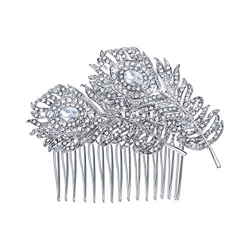 (EVER FAITH Women's Austrian Crystal Wedding Elegant 2 Peacock Feather Hair Comb Clear Silver-Tone)