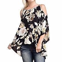 Jushye Women's Blouse, Ladies Floral Print 3/4 Sleeve Off Shoulder Loose Casual Swing Tops Shirt