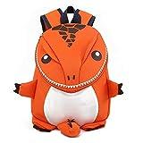 Coavas Toddler Backpacks - Cute Lifelike Dinosaur Orange Best Gift For 1-5 Years Old Kids