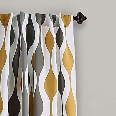 "Lush Decor Mid Century Geo Room Darkening Window Curtain Panel Pair, 84"" x 52"", Gold and Gray"