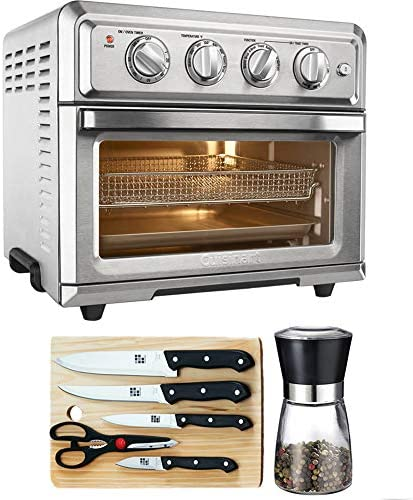 Cuisinart Convection Toaster Oven Air Fryer with Light Silver TOA-60 with Home Basics 5-Piece Knife Set with Cutting Board Spice Mill