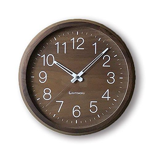 KATOMOKU muku round clock 2 ウォールナット 電波時計 スイープ(連続秒針) km-46RC Φ306mm B01EKN4HN8