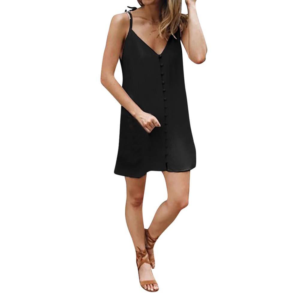 Keliay Dress for Women Summer,2019 Summer Women Sleeveless Beach Knee Mini Dress V-Neck Dress Black
