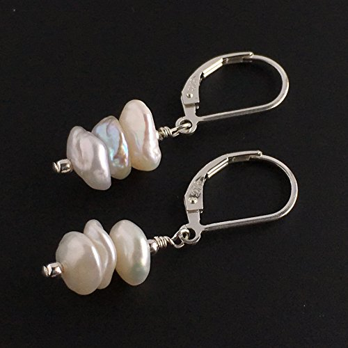 (Cultured Keshi Pearl Earrings, Available in Sterling Silver, Rose Gold or Gold )