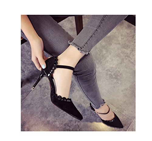 Feminine Shallow Mouth Pointed-Toe Stiletto Heel Sexy Suede Vintage Ladies Shoes Sweet Shoes (Color : Black, Size : 38)