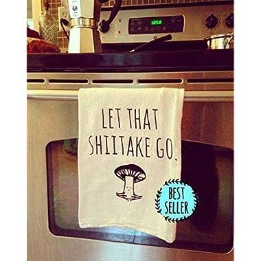 Funny Dishcloth/Tea Towel ~ Let That Shiitake Go ~ Vegetable Pun Kitchen Cloth