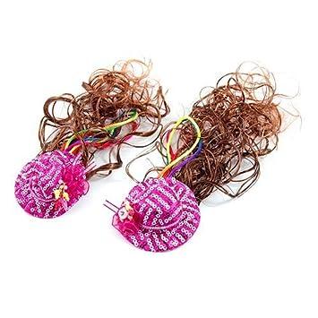 eDealMax 2 piezas niñas peluca rizada/Sombreros / Rose Sombrero/Clip / Postizos,