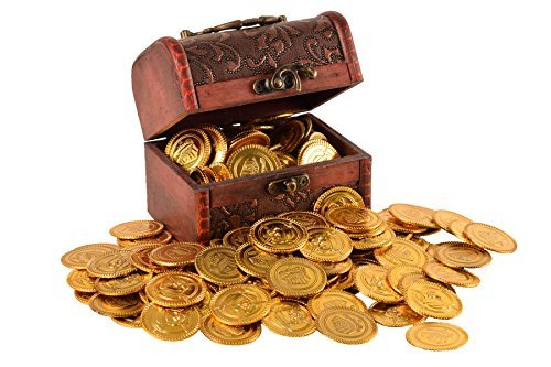 Trekids Pirate Treasure A Treasure Chest and 100pcs Plastic Play Gold Coins for Kids