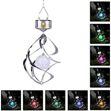 (1 Pack) Color Changing Solar LED Wind Light, Wind Spinner Colorful Hanging Lantern, Fairy Garden Hanging Lamp With Gorgeous Spiral Metal Construction for Garden, Lawn, Outdoor Decorative Lighting