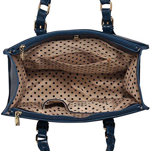 ANNA GRACE - Bolso de asas de piel sintética para mujer Design 1 - Navy