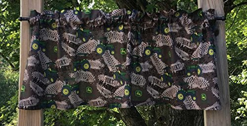 Handcrafted Cotton Curtain Valance Sewn From John Deere Tractor Camo Dirt Tracks Cotton Fabric