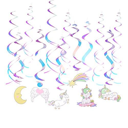(Easy Joy Unicorn Birthday Party Supplies Hanging Foil Swirl Ceiling Streamers Unicorn Theme Baby Shower Decoration)