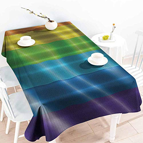 Homrkey Restaurant Tablecloth Rainbow Flag Gay Pride Parade Fantasy Bathroom Love Wins Men Gifts for Gay Men Couple Symbol of Love Red Orange Yellow Green Blue Purple Excellent Durability W54 xL84 (Restaurant With Red White And Green Flag Logo)