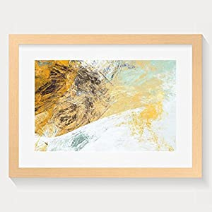 HEI Unique Abstract Beautiful Blue And Yellow Soft Color Background Dynamic Painting Texture Framed Wall Art Prints 16x20