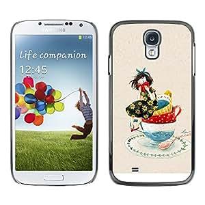 Samsung Galaxy S4 , JackGot - Impreso colorido protector duro espalda Funda piel de Shell (Chica Dibujo Porcelana Arte Dibujo)