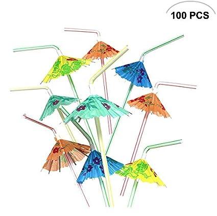 amazon com 100pcs mseeur multicolored hawaiian umbrella parasol