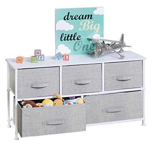 (mDesign Extra Wide Dresser Storage Tower - Sturdy Steel Frame, Wood Top, Easy Pull Fabric Bins - Organizer Unit for Child/Kids Bedroom or Nursery - Textured Print - 5 Drawers - Gray/White)
