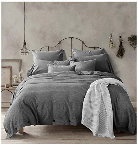 Doffapd Duvet Cover King, Washed Cotton Duvet Cover Set - 3 Piece (King, Dark Gray)
