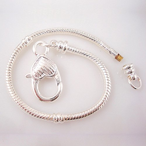 RUBYCA 10pcs White Silver Plated Heart Lobster European Snake Chain Bracelet fit Charm Beads 6.7
