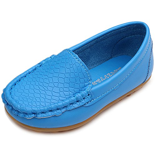 Blue Toddler Soft Dress Slip LONSOEN Sneakers On Boys Kid Shoes Synthetic Little Girls Loafer Leather Boat BCCqwagZ